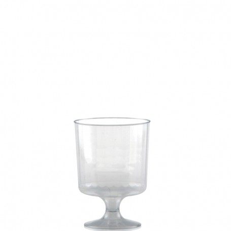 8 oz. Clear Fluted Plastic Footed Wine Glasses