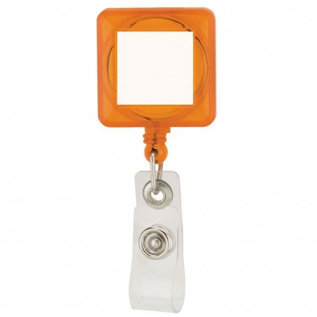 Square Plastic Retractable Badge Holder Clip