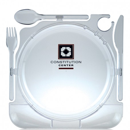 Clear Plastic PartyPlate with Cutlery Plates