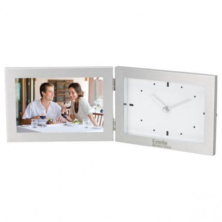 """Promo 6""""x4"""" Hinged Photo Frame and Clock"""