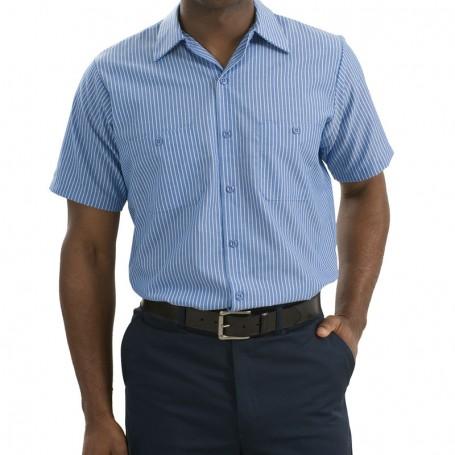 Red Kap - Short Sleeve Striped Industrial Work Shirt (Apparel)