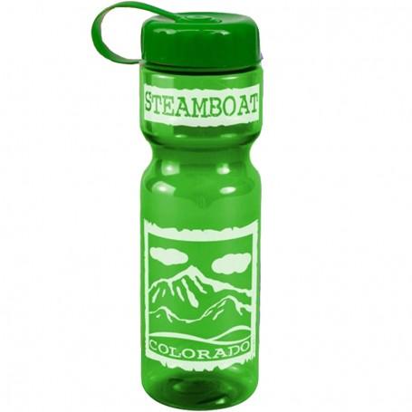 Custom Logo 28 oz. Transparent Bottle with Tethered Lid