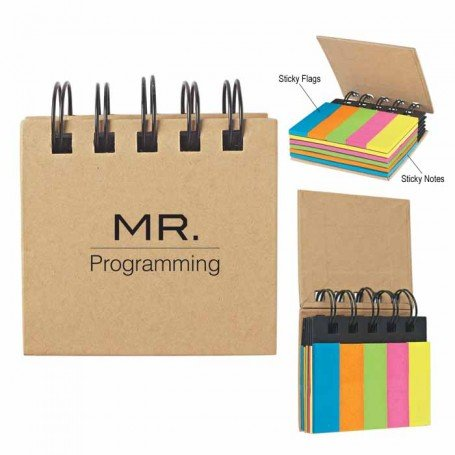 Custom Logo Spiral Book With Sticky Notes And Flags