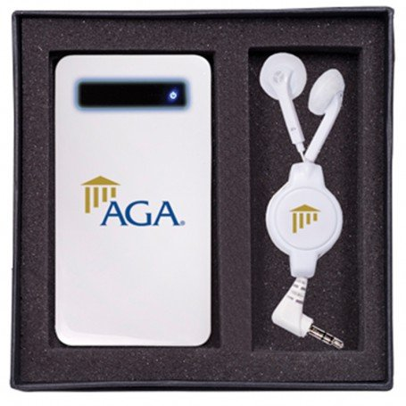 Custom Ultra-Slim Mobile Charger & Retractable Earbuds Gift