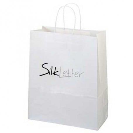 Imprinted White Kraft Paper Shopping Bag