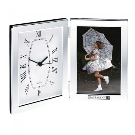 "Imprinted 4""x6"" Photo Frame & Hinged Clock"