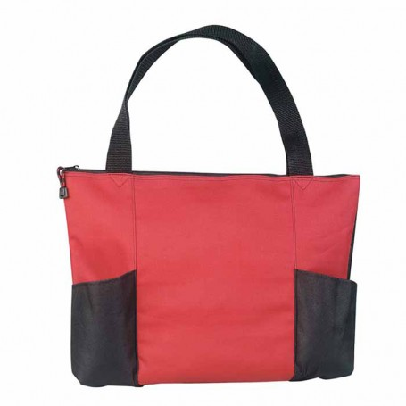 Imprinted Double Pocket Zippered Tote Bag