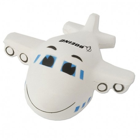 Imprinted Smiley Airplane Stress Reliever