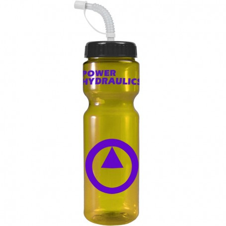 Imprinted 28 oz. Transparent Color Bottle with straw