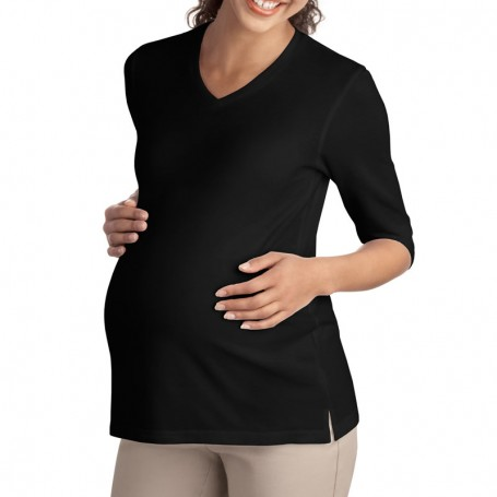 Port Authority Ladies Silk Touch Maternity 3/4-Sleeve V-Neck Shirt (Apparel)