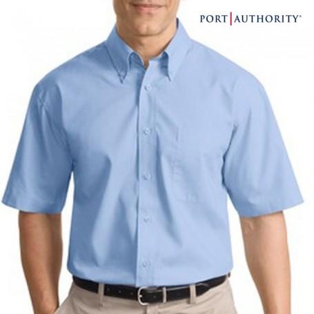 Logo Short Sleeve Poplin Dress Shirt