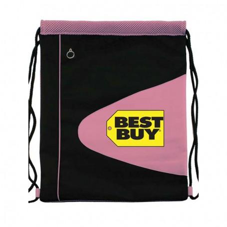 Mesh and Microfiber Drawstring Backpack