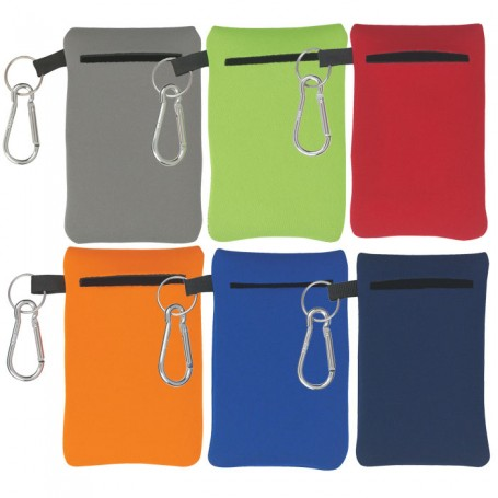 Monogrammed Neoprene Portable Electronics Case With Carabiner