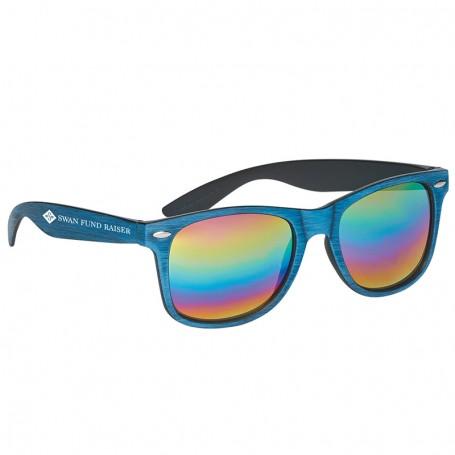 Personalized Woodtone Mirrored Malibu Sunglasses