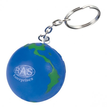 Printed Globe Stress Reliever Key Chain