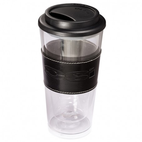 13.5 oz. Glass Tumbler with Leather Sleeve