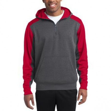 Sport-Tek-Colorblock Tech Fleece 1/4-Zip Hooded Sweatshirt
