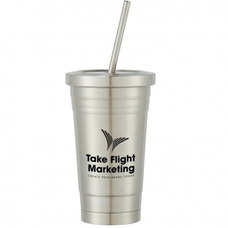 16 oz Steel Tumbler With Straw