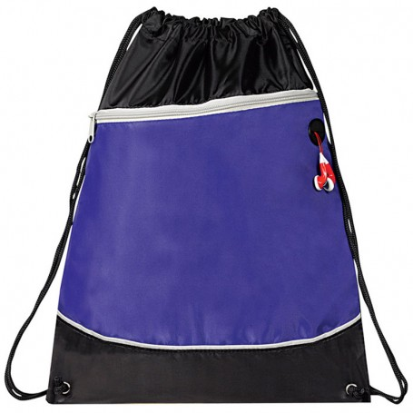 Two Tone Zipper Drawstring Bag