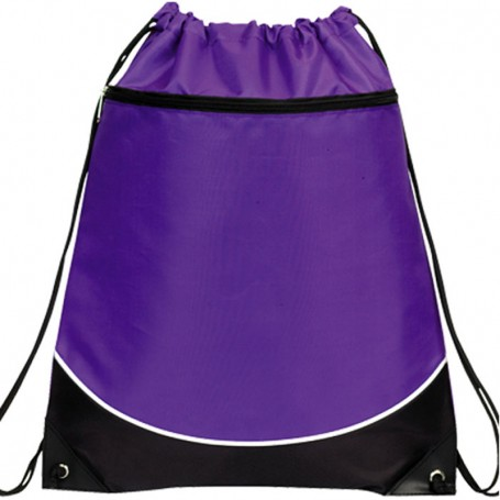 Two Tone Zippered Drawstring Backpack
