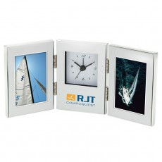 "Custom Printed 2 - 2"" x 3"" Frames and Clock"