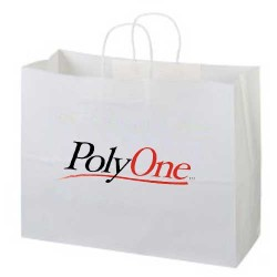 16 x 6 x 12 Logo Kraft White Paper Bag